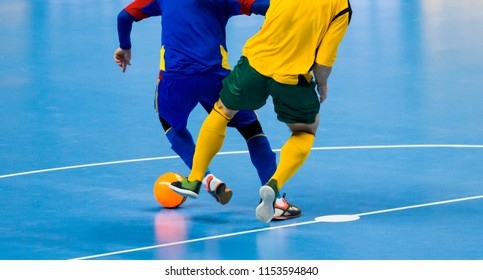 Football Futsal Ball and man Team. Indoor Soccer Sports Hall.