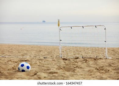 football gate and ball, beach soccer goal