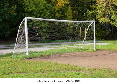 Football goal in the field