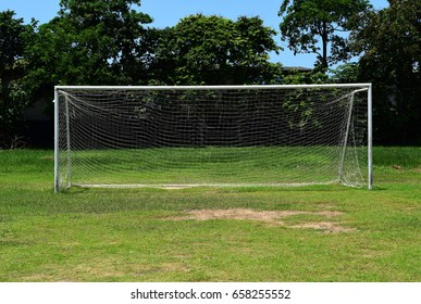 Football goal in the grass.