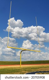 Football goal on a bright sunny day