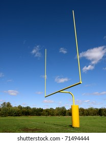 football goal post with blue sky