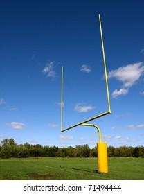 football goal post with blue sky