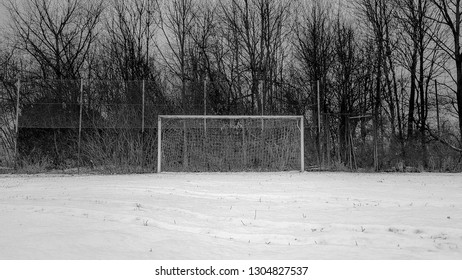 football goal in snowy football field