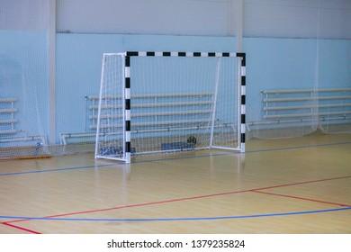 Football goalpost in the hall