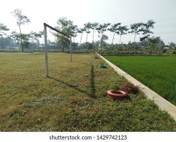 Football goalposts, which are in line with the boundary lines, are good objects used for background and football banners