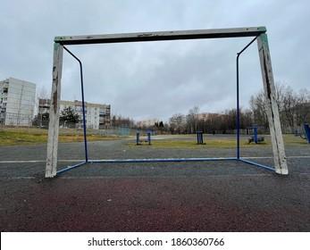 Football goals in the sports stadium
