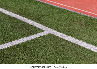Football Ground and close up of lines grass