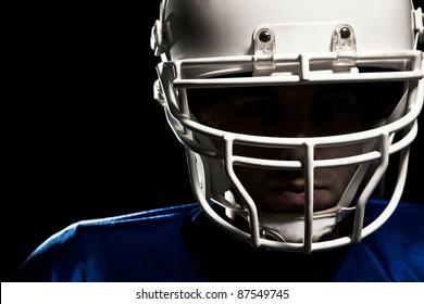 Football helmet closeup