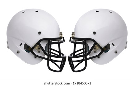 Football Helmets: Two white football helmet isolated on white without any markings or logos.