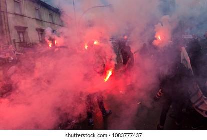 Football hooligans in the street