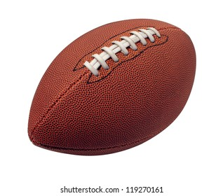 Football isolated on a white background as a professional sport ball for traditional American and Canadian game play on a white background.