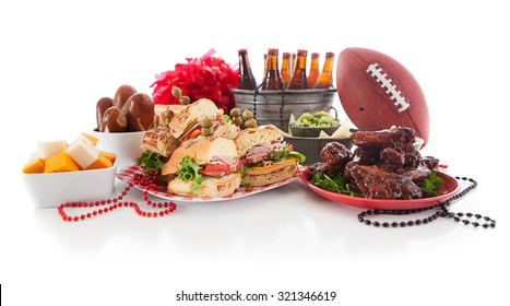 Football: Low View Of Tailgate Party Food And Items