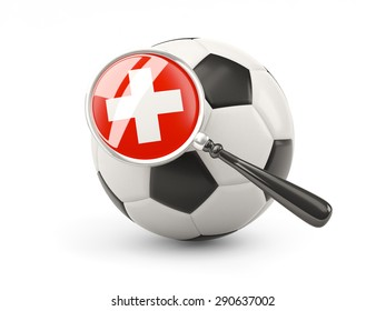 Football with magnified flag of switzerland isolated on white