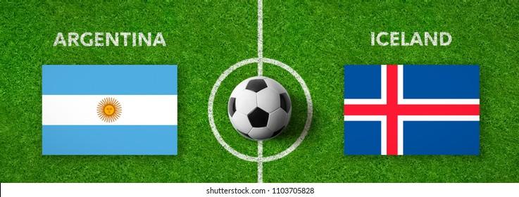 Football match Argentina vs. Iceland