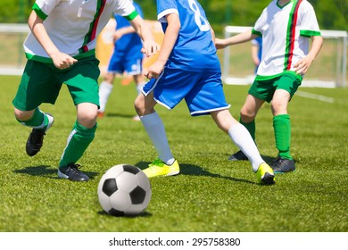 Football match for children. Training and football soccer competition tournament