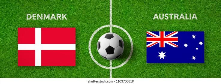 Football match Denmark vs. Australia