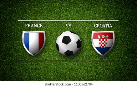 Football Match schedule, France vs Croatia, flags of countries and soccer ball - 3D rendering