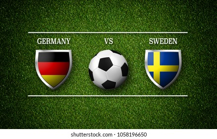 Football Match schedule, Germany vs Sweden, flags of countries and soccer ball - 3D rendering