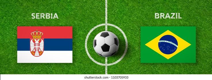 Football match Serbia vs. Brazil