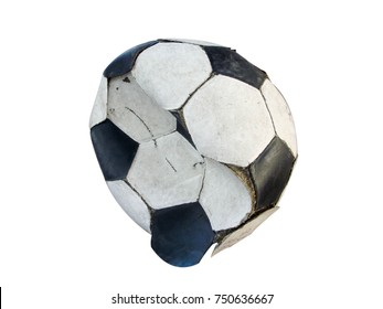 Football old inactive . In a state of disrepair , on white background close up , clipping path