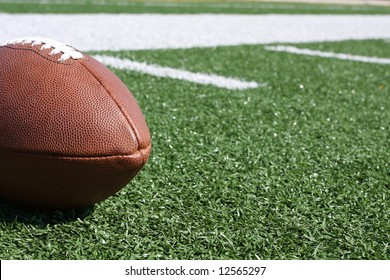 Football on the field with room for copy