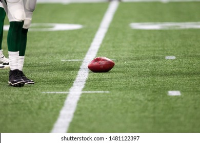 Football on field - week #3 of the 2019 NFL Pre-Season Game Atlanta Falcons Host the New York Jets on Thursday August 15th 2019 at the Mercedes Benz Stadium in Atlanta Georgia USA