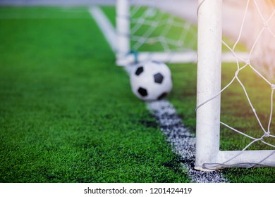 Football on goal line. It is not yet goal. The concept of situation.