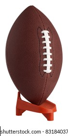 Football on kickoff tee with clipping path