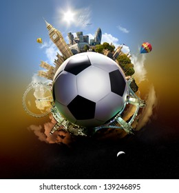 Football planet of London - symbolic illustration of London, UK, built on a soccer football, with all important buildings and attractions of the city