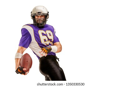 Football Player in action with ball in the hand isolated on white background.