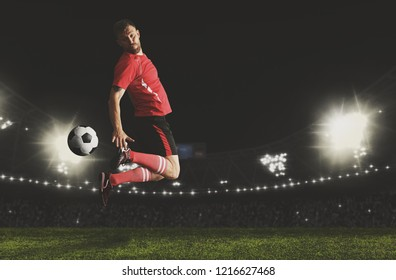 Football player in action on a dark arena background