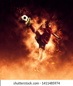 Football player in action on flames background – Image