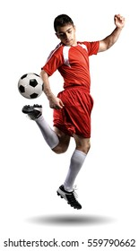 The football player in action on the white background.