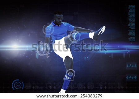 Football player against blue dots on black background