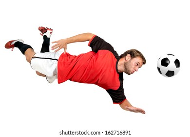 Football player with a ball isolated in white