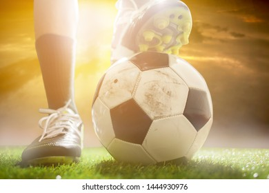 Football player with ball on field