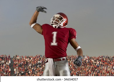 Football player celebrates victory