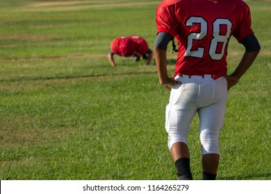Football Player doing Push up