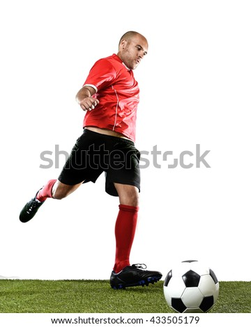 bda161bf5 football player kicking ball in free kick shooting action isolated on white  background wearing red jersey