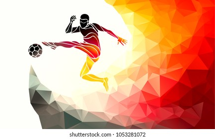Football player kicks the ball in German flag colors. Soccer - Template ideal for t-shirt printing, posters, flyers, brochures, banners, badges, labels, wallpapers, web design, advertising, publicity