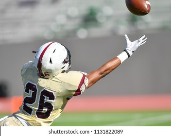 Football player making an amazing catch during a game