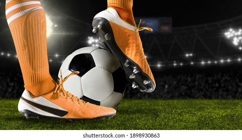Football player man in action on dark arena background