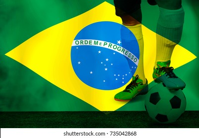 "The football player in moments action  in Brazil flag. Mixed media for sports background. The Roman letter is capitalized in green ""Ordem e Progresso""  the meaning is  Regulation and  progress ."