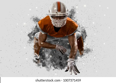 Football Player with a orange uniform coming out of a blast of smoke, on the scrimmage line.