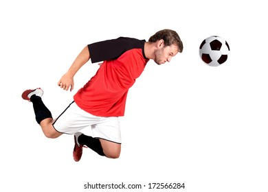 Football player playing isolated in white