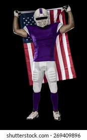 Football Player with a purple uniform and a american flag, on a black background.