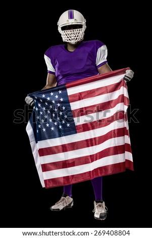 69af1170f20 Football Player Purple Uniform American Flag Stock Photo (Edit Now ...