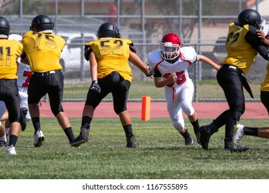 Football Player ready to Block