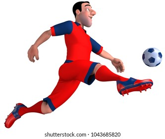 Football player in red hits the ball. 3D illustration